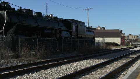 Old locomotive at Guelph train station Footage