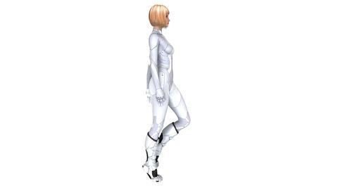 歩く女性サイボーグ CG動画