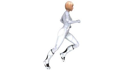 走る女性サイボーグ CG動画