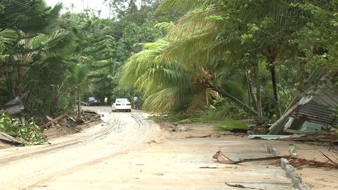 Hurricane Storm Surge Debris Covers Road Footage