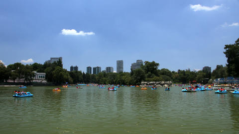 Mexico City, Mexico-July 2014: People enjoying a trip in a recreational boat in  Footage