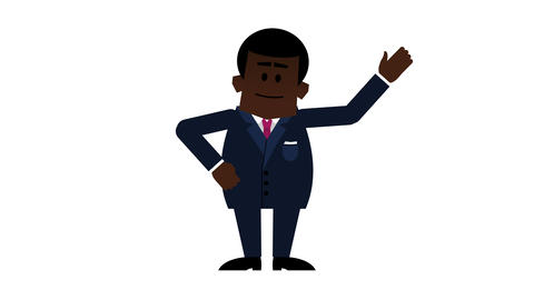 Young Black Businessman Explaining. 4K Loopable Cartoon With Alpha Matte stock footage