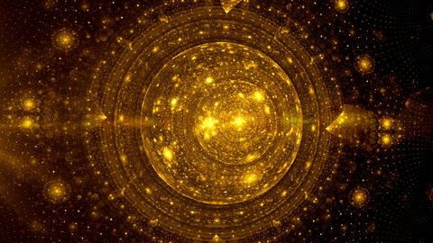 Surreal Golden Planet Made Of Particles With Ring Rotating In Space Animation