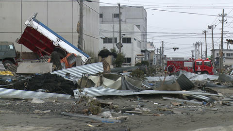 Japan Tsunami Aftermath - Damage To Port Area stock footage