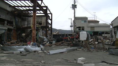 Japan Tsunami Aftermath - Damage To Industrial Buildings Footage