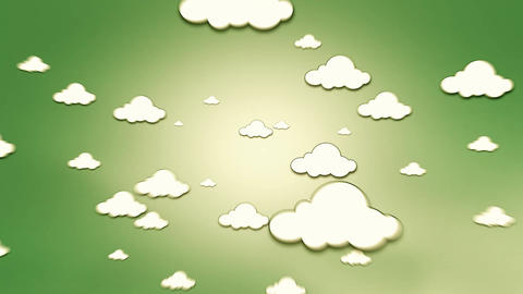 Clouds Zoom Out Of Screen On Green Background stock footage
