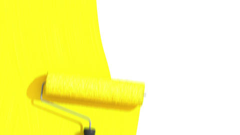 Roller Painting Yellow Color. Useful for Transitions. Loop-able. Alpha Channel Animation