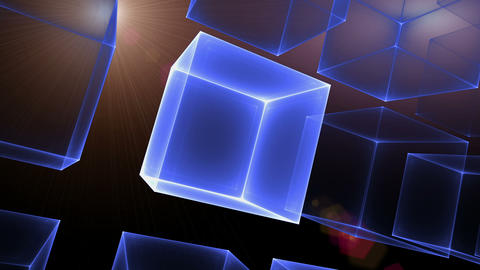 Blue Cubic Perspective With Rays Of Light Animation