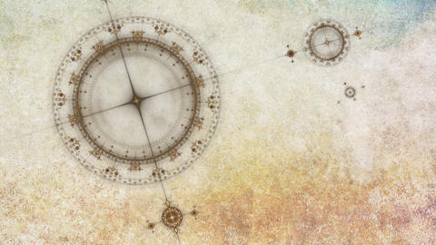 Ancient grunge nautical instrument, compass Animation