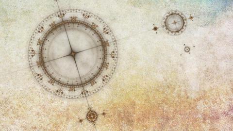 Ancient grunge nautical instrument, compass Animation