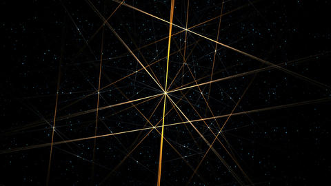 golden lines rotating on starry background Animation