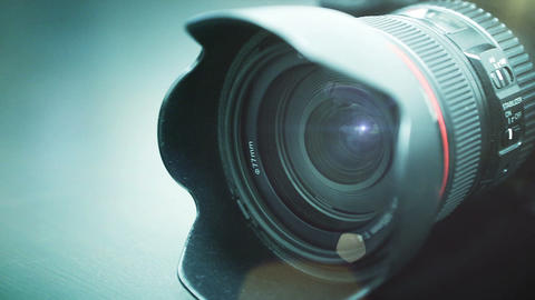 Close-up shot of professional camera. HD 1080 Footage