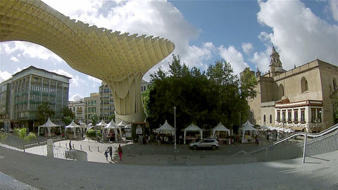 Pan Timelapse Metropol Parasol Seville Spain Andalusia 002 stock footage