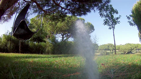 Garden Irrigation Sprinkler POV E Footage
