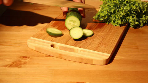 Cutting A Cucumber stock footage