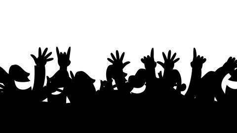 Cheering crowd silhouettes looping animation Animation