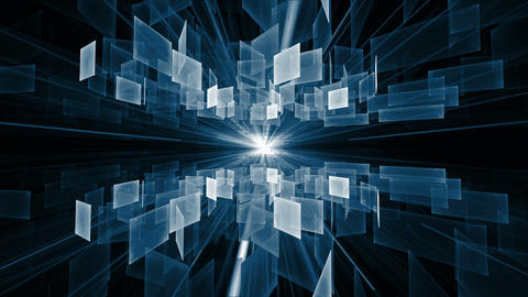 Blue Cubes in Rotation, Geometrical Horizon With Rays Of Light Animation