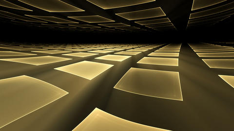 Golden Cubical Rotating Perspective Stretching Off To Infinity Animation