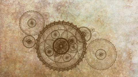 Mechanism, Ancient Metallic Cogwheel On Grunge Parchment Animation