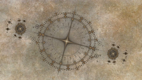 animated gears rotating, ancient nautical instrument, compass on grunge parchmen Animation