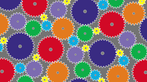 Rotation Of Connected Colored Gears stock footage