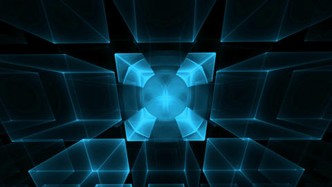 Blue Cubes Rotating In Perspective stock footage