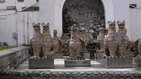 Gryphons Fountain in Sukhumi 1 Stock Video Footage