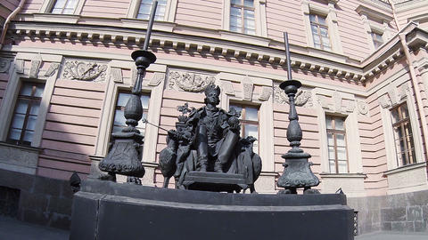 Monument to Emperor Paul I in yard of the Mikhailovsky castle. Saint-Petersburg Footage
