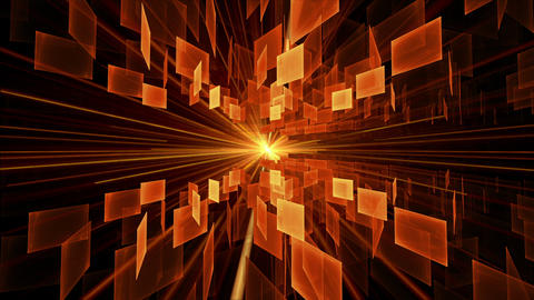 Orange Cubes in Rotation, Geometrical Horizon With Rays Of Light Animation