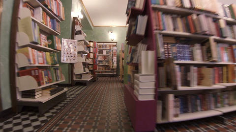 Shelves With Books In A Bookstore stock footage