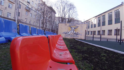 Seats For Spectators On The Playground stock footage