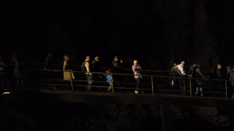 Tourists In Karst Cave 5 stock footage