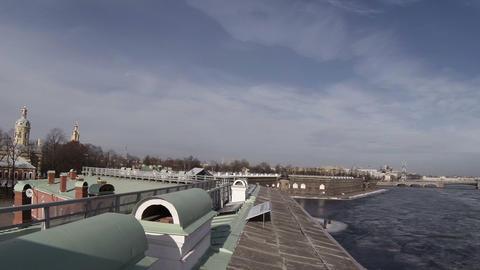 Troitsky bridge in St. Petersburg Footage