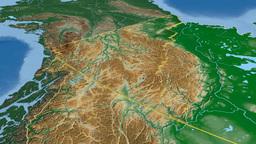 Yukon - Canada territory extruded. Bumps shaded Animation