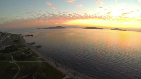 High angle view at Istanbul. In the distance Princes Islands and Marmara Sea on  Footage