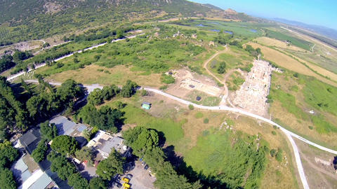 Flying over Ephesus Ancient City at Selcuk in Turkey Footage