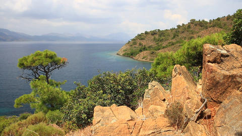 Coastal Landscape Of Mediterranean Sea With A Pine Tree And Red Rocky Formations stock footage