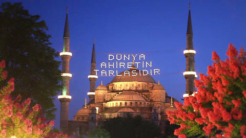 Blue Mosque in Holy Month of Ramadan in Istanbul, Turkey. Messages spelled out b Footage
