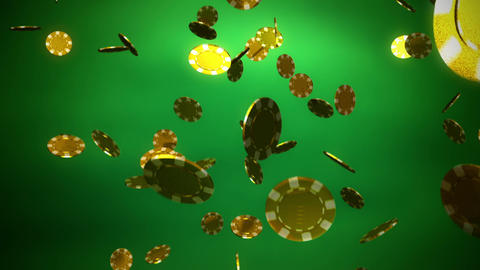 golden Casino color chips dropping slope green Animation