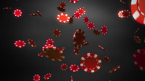 red Casino chips dropping slope black Animation