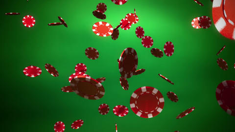 red Casino color chips dropping slope green Animation