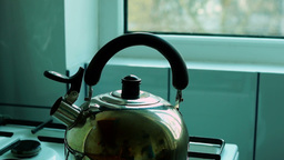 Kettle Steam Kitchen Stove stock footage