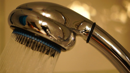 Shower Head With Running Water, with sound.Concept Of Water Wastage Footage