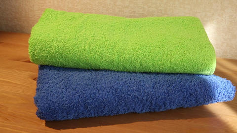 Blue and green towels Footage