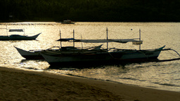 Philippines Pump Boat In Sunset Light stock footage
