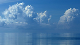 Blue Sky with Big Clouds above Sea Footage