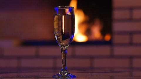 Glass of Sparkling Wine Footage