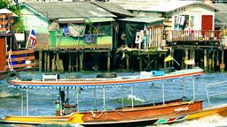 Wooden Boat on Chao Phraya River, Bangkok, Thailand Footage
