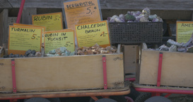 4K, Gemstones In Boxes On Farmers Market stock footage