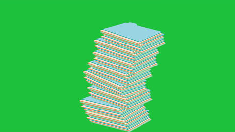 Tipping, Pile of Papers (Looping + Matte) Animation
